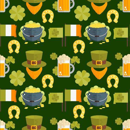 Vector seamless pattern for St.Patricks day. Seamless St.Patricks Day background with Irish elements- beer, shamrock, horseshoe, cauldron, golden coins, leprechauns beard, hat, flag. Flat wallpaper