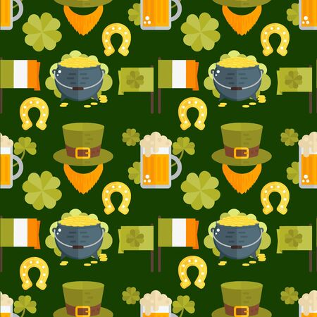 leprechauns: Vector seamless pattern for St.Patricks day. Seamless St.Patricks Day background with Irish elements- beer, shamrock, horseshoe, cauldron, golden coins, leprechauns beard, hat, flag. Flat wallpaper