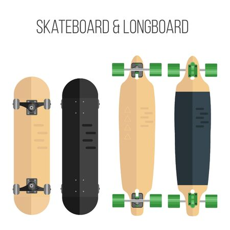 longboard: Vector illustration of skateboard and longboard. Illustration of flat skateboard and longboard isolated on white background.
