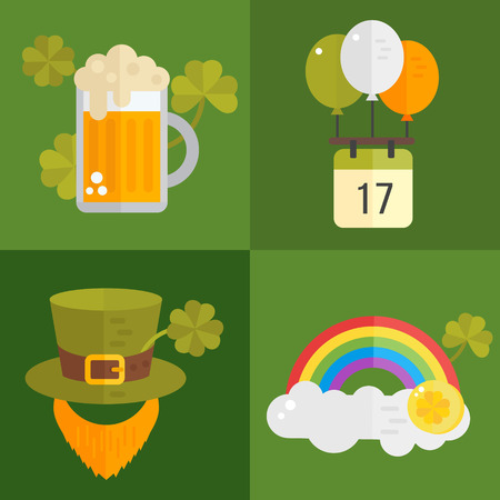irish symbols: St. Patricks Day vector illustration. Set of icons for St.Patricks day. Irish symbols in flat style. Set of cartoon Irish elements- beer, shamrock,cauldron with golden coins, leprechauns beard, hat Illustration