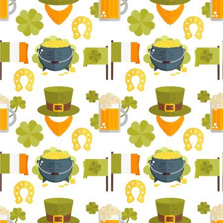 Vector seamless pattern for St.Patricks day. Seamless St.Patricks Day background with Irish elements-beer, shamrock, horseshoe, cauldron, golden coins, leprechauns beard, hat, flag. Flat wallpaper