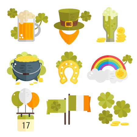 irish symbols: St. Patricks Day vector illustration. Set of icons for St.Patricks day. Irish symbols in flat style. Set of cartoon Irish elements- beer, shamrock, rainbow, cauldron with golden coins, beard, hat.