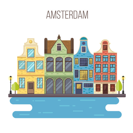 amsterdam canal: Vector illustration of Amsterdam cityscape.Traditional Dutch landscape. Houses in the old European style. Netherlands card