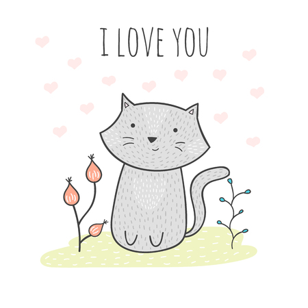 grey cat: Cute hand drawn doodle card with a cat and flowers. Cute vector illustration witn grey cat and romantic quote. Cartoon cat illustration in minimalistic style. I love you