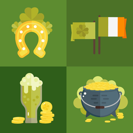 irish symbols: St. Patricks Day vector illustration. Set of icons for St.Patricks day. Irish symbols in flat style. Set of cartoon Irish elements- green beer, shamrock, flag, cauldron with golden coins, horseshoe Illustration