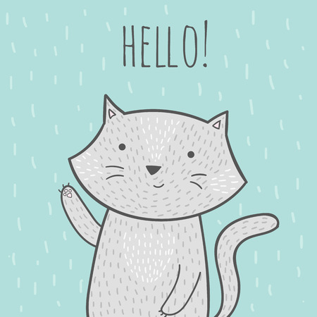 grey cat: Cute hand drawn doodle card with a cat that says hello. Cute vector illustration witn grey cat for invitations, brochures, birthday cards. Cartoon cat illustration in minimalistic style. Illustration