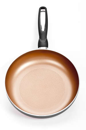 Color frying pan isolated on white background photo