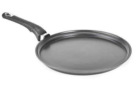 Front view of black and white frying pan isolated on white background Stock Photo - 17939981
