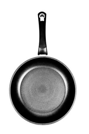 Front view of black and white frying pan isolated on white background Stock Photo - 17940100