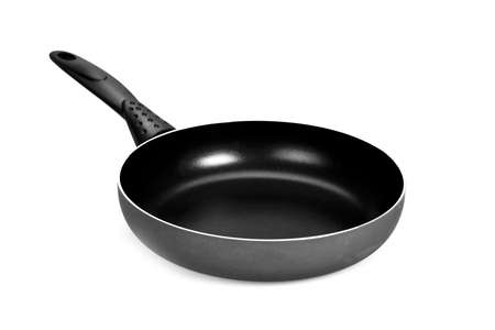 Front view of black and white frying pan isolated on white background Stock Photo - 17939946