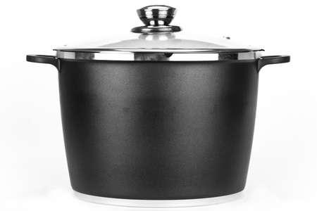 One pot isolated on white background. Black and white photo. photo