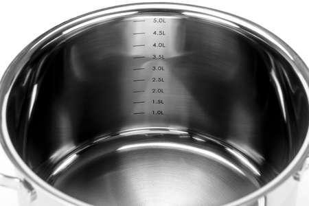 One pot whit measure isolated on white background  Black and white photo  photo