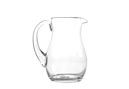 Empty glass jug on white background photo
