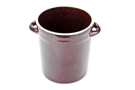 stoneware: Clay pot on white background