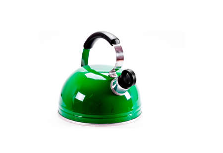Green tea kettle isolated on white background photo