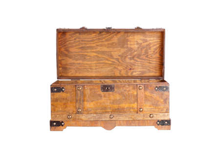 coffer: Old wooden coffer, isolated. Copy space