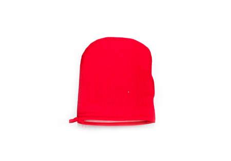 mitt: Red oven glove mitt isolated on white background