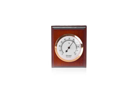 kelvin: Wooden thermometer on white background