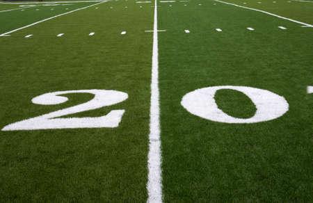 20 Yard lijn op een American Football Field