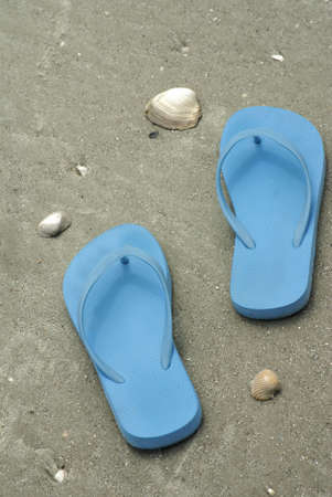 Blue flip flops on wet sand beach Stock Photo - 7717119