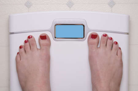 Digital Bathroom Scale Displaying OMG Message Stock Photo - 7717128