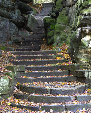 Stairway carved into moss covered boulders                    photo