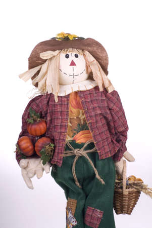 Halloween Scarecrow Craft Decoration on a White Background