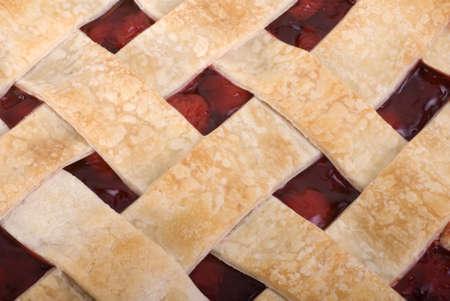 Close up of a homemade cherry pie