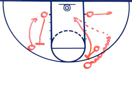 Basketball background diagram on a white board showing a pick and roll play