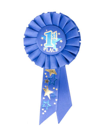 A blue ribbon on a white background displaying 1st place photo
