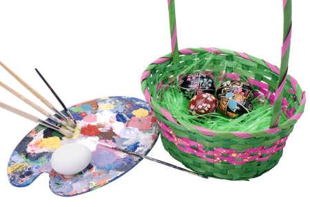 pallette: Artists pallette and brushes for painitng Ukrainian Easter eggs