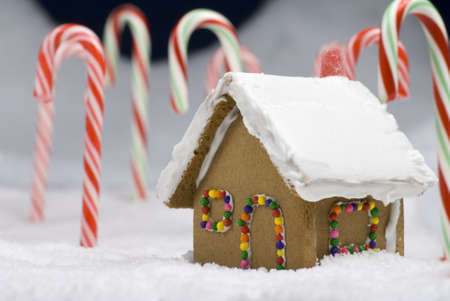 Closeup image of a gingerbread house in the snow in a candy cane forest