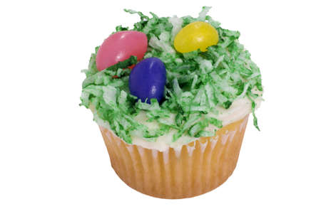 An Easter cupcake isolated on a white background