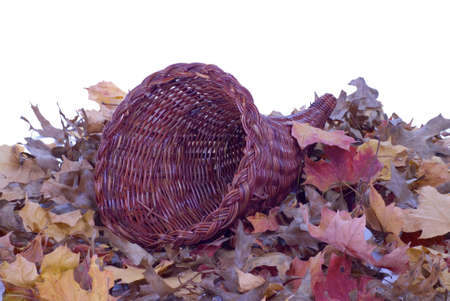horn of plenty: A wicker cornucopia laying on colorful fall leaves. Stock Photo