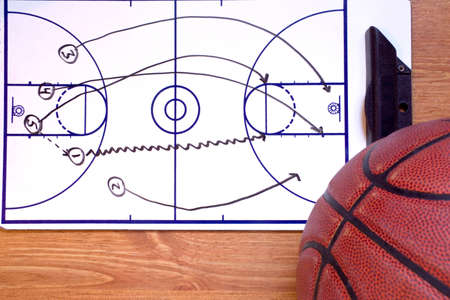 A basketball fast break diagram and a ball.