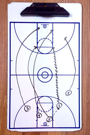 basketball game: A diagram of a basketball fast break on a coachs clipboard. Stock Photo