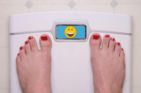 Digital Bathroom Scale Displaying a Happy Emoji