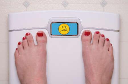 Digital Bathroom Scale Displaying a Sad Emoji