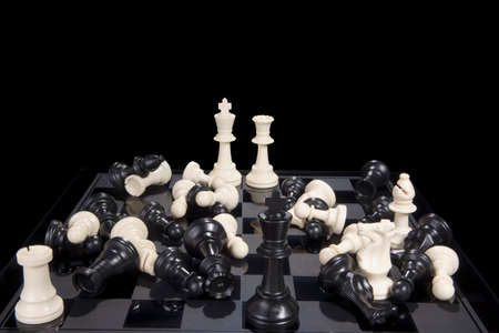checkmate: A chess board showing white pieces in checkmate and all pieces scattered.