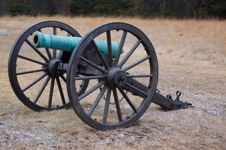 oxidized: A green, oxidized Civil War cannon in a cold field.