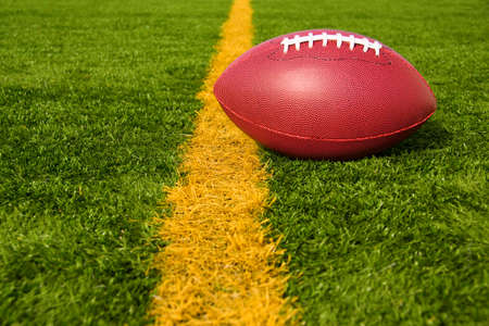 goal line: An American football resting just over the goal line for a touchdown