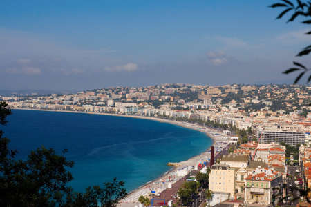 The coastline of Nice, France and the Promenade des Anglais Stock Photo