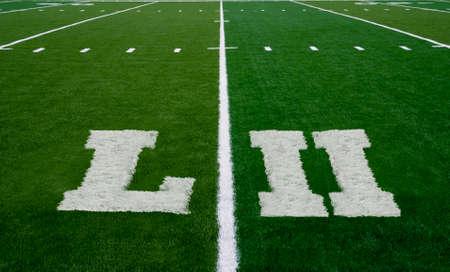 Football field symbolizing Super Bowl 52 in 2018 版權商用圖片
