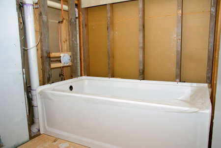A new bathtub ready to be installed for a bathroom remodeling project.