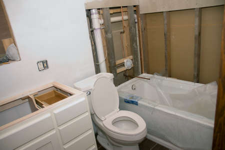 A bathroom remodel project getting closer to completion. Archivio Fotografico