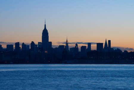 The New York City sklyline just before sunrise