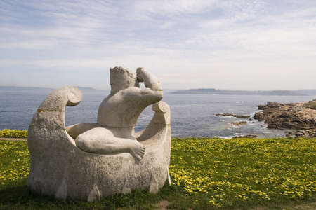 commemorative: commemorative statue of hercules, symbol, galicia Stock Photo