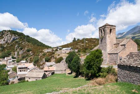 romanesque: General view of a small mountain village in the Aragonese Pyrenees Romanesque right from image church, Spain