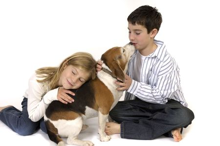 cousin: Boy and girl with pet dog.