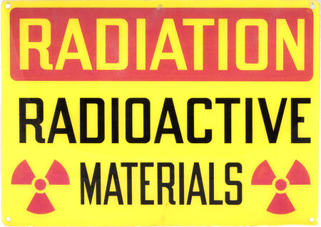old sign: Vintage Radioactive materials sign  Stock Photo